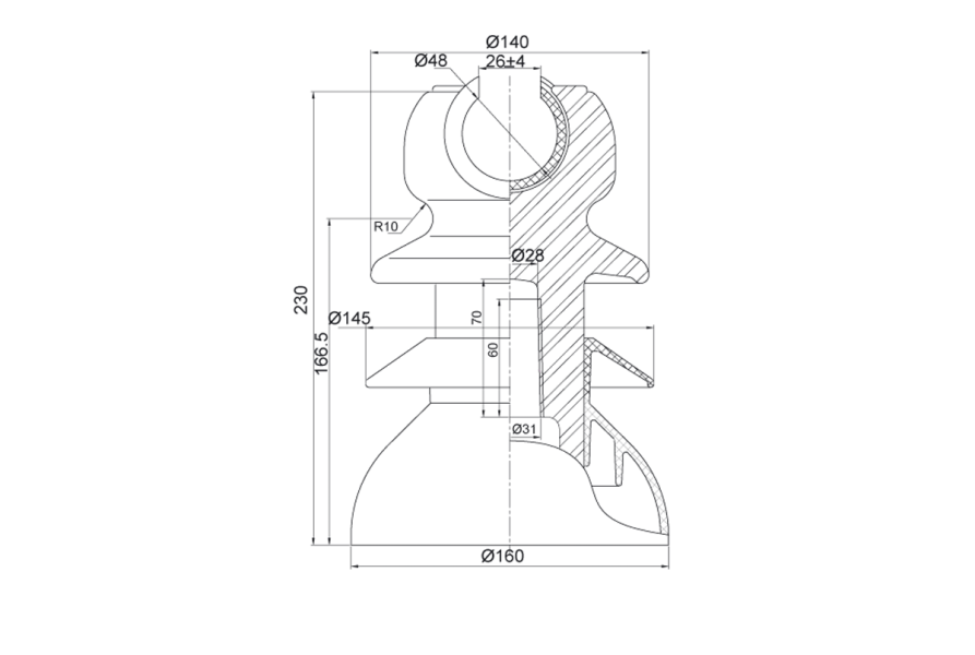 Изоляторы линейные штыревые  полимерные типа ШПФ