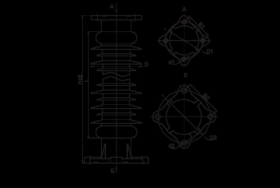 Изоляторы опорные полимерные типа ОСК 10-150 на напряжение 150 кВ