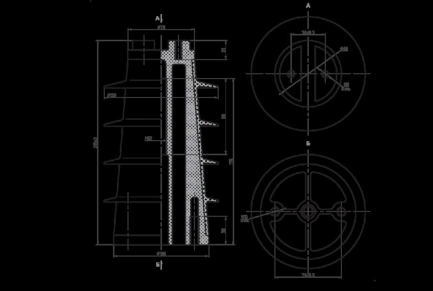 Изоляторы опорные ребристые полимерные типа ОПК на напряжение 10 кВ